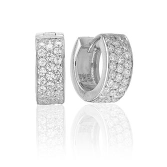 Sif Jakobs Silver Rhodium Plated Zirconia 12mm Hoop Earrings - Product number 1160761