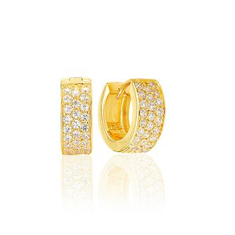 Sif Jakobs 18ct Gold Plate Silver Zirconia 12mm Earrings - Product number 1160788