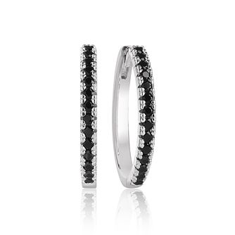 Sif Jakobs Ellera Silver Black Zirconia 14mm Hoop Earrings - Product number 1160796