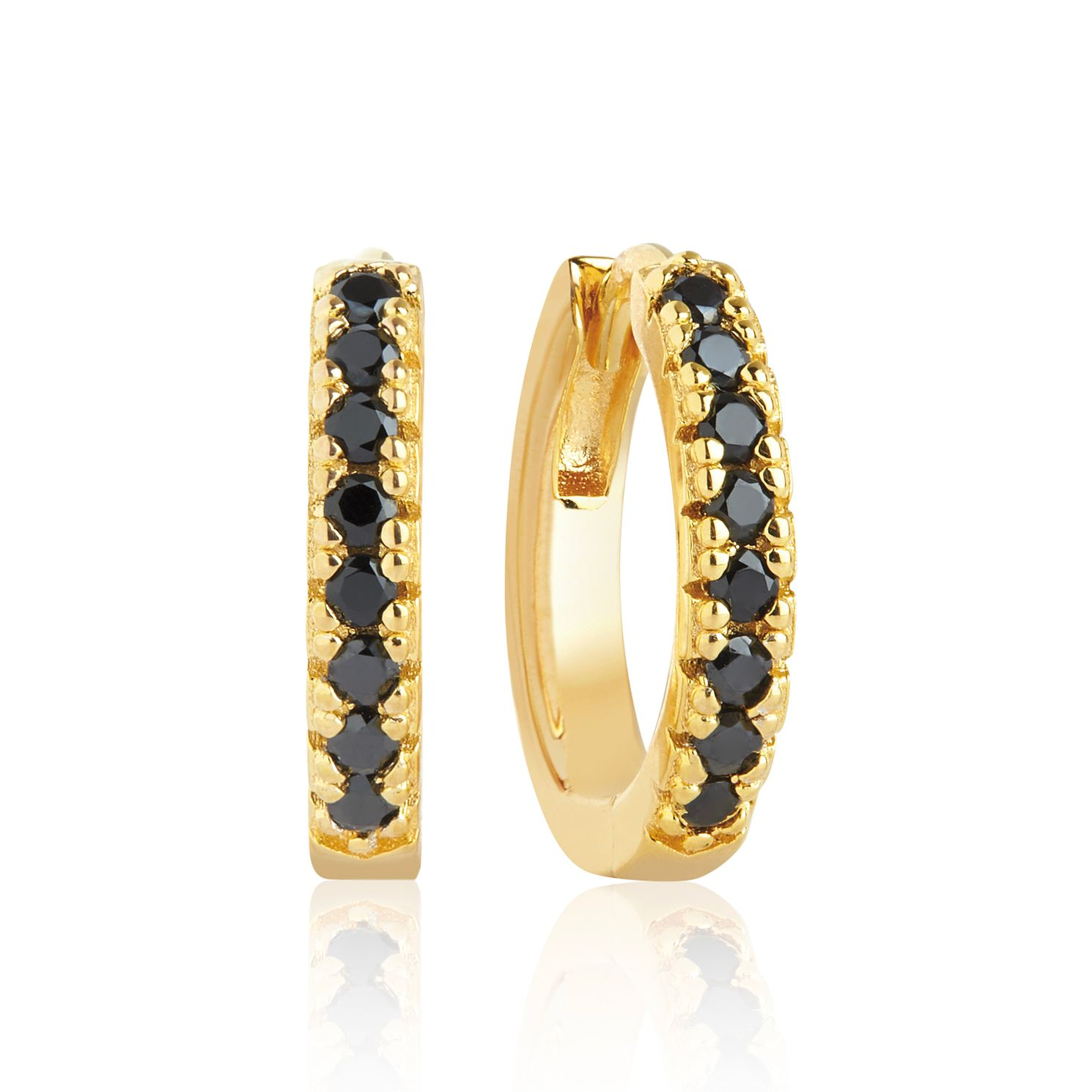 Sif Jakobs 18ct Gold Plate Black Zirconia 14mm Hoop Earrings - Product number 1160818