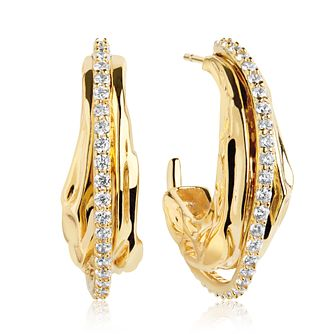 Sif Jakobs 18ct Gold Plate Silver Zirconia 11mm Earrings - Product number 1160826