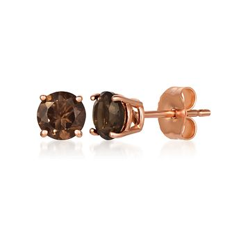 Le Vian 14ct Strawberry Gold Smoky Quartz Stud Earrings - Product number 1161350