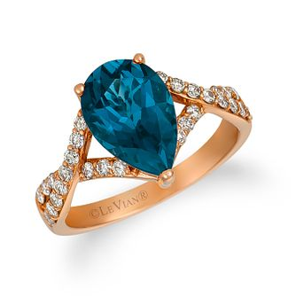 Le Vian 14ct Strawberry Gold Blue Topaz 0.37ct Diamond Ring - Product number 1161377
