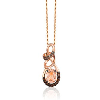 Le Vian 14ct Strawberry Gold Morganite & Diamond Pendant - Product number 1162594