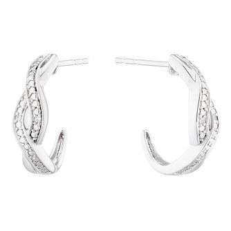 Sterling Silver Diamond Twist Hoop Earrings - Product number 1162888