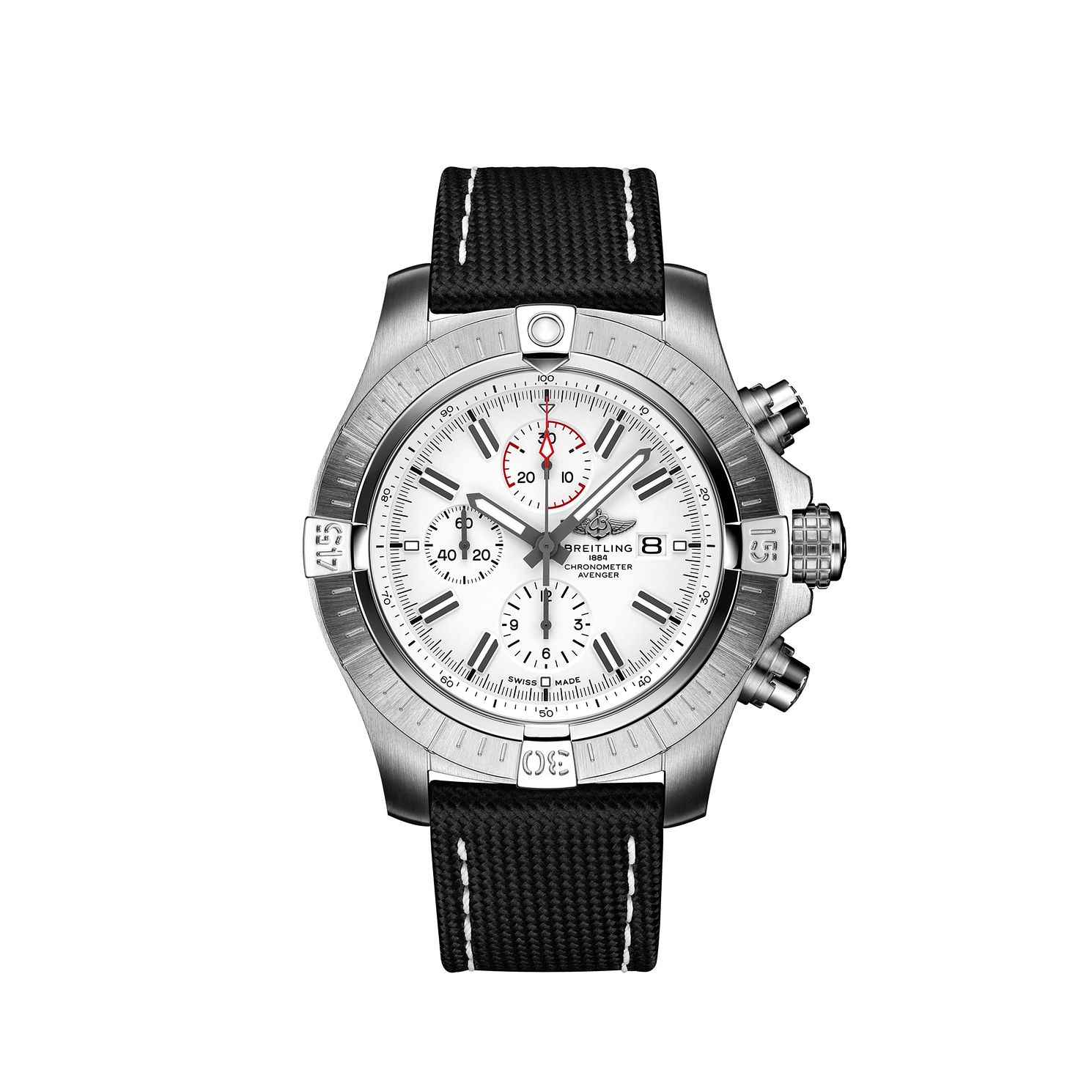 Breitling Super Avenger Chrono 48 Black Leather Strap Watch - Product number 1167804