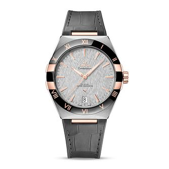 Omega Constellation Men's Grey Leather Strap Watch - Product number 1168312