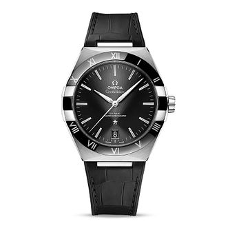 Omega Constellation Men's Black Leather Strap Watch - Product number 1168320