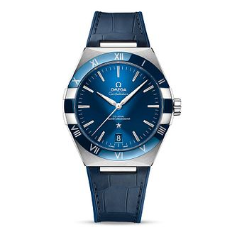 Omega Constellation Men's Blue Leather Strap Watch - Product number 1168339