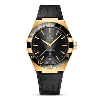 Omega Constellation Men's Black Leather Strap Watch - Product number 1168355