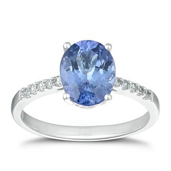 18ct White Gold Oval Tanzanite Diamond Ring - Product number 1168673
