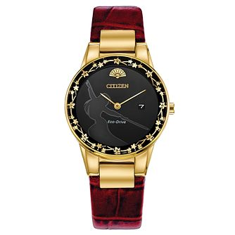 Citizen Disney Princess Mulan Dark Red Leather Strap Watch - Product number 1168932