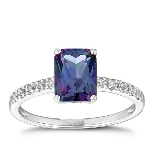 9ct White Gold Created Alexandrite & Diamond Ring - Product number 1169114