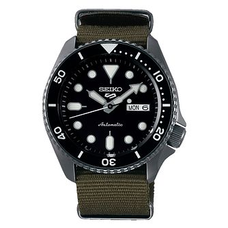 Seiko 5 Sports Men's Green Nylon Strap Watch - Product number 1169386