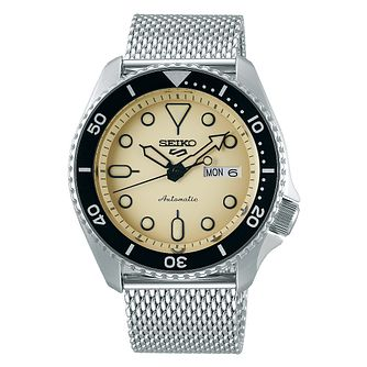 Seiko 5 Sports Men's Stainless Steel Mesh Bracelet Watch - Product number 1169394