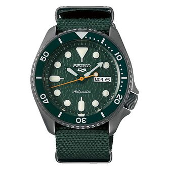 Seiko 5 Sports Men's Green Nylon Strap Watch - Product number 1169432