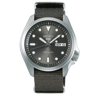Seiko Sports 5 Men's Grey Fabric Strap Watch - Product number 1169742