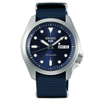 Seiko Sports 5 Men's Blue Fabric Strap Watch - Product number 1169750
