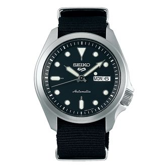 Seiko 5 Sports Men's Black Nylon Strap Watch - Product number 1169777