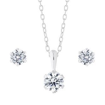 Silver Cubic Zirconia Six Claw Jewellery Gift Set - Product number 1170252