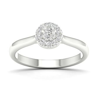 9ct White Gold 1/4ct Diamond Halo Ring - Product number 1170317