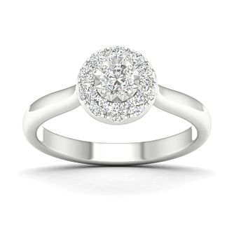 9ct White Gold 1/2ct Diamond Halo Ring - Product number 1170449
