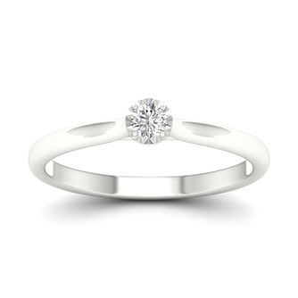9ct White Gold 1/10ct Diamond Solitaire Ring - Product number 1170589