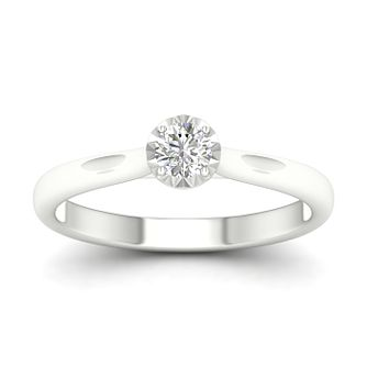 9ct White Gold 1/4ct Diamond Solitaire Ring - Product number 1170716