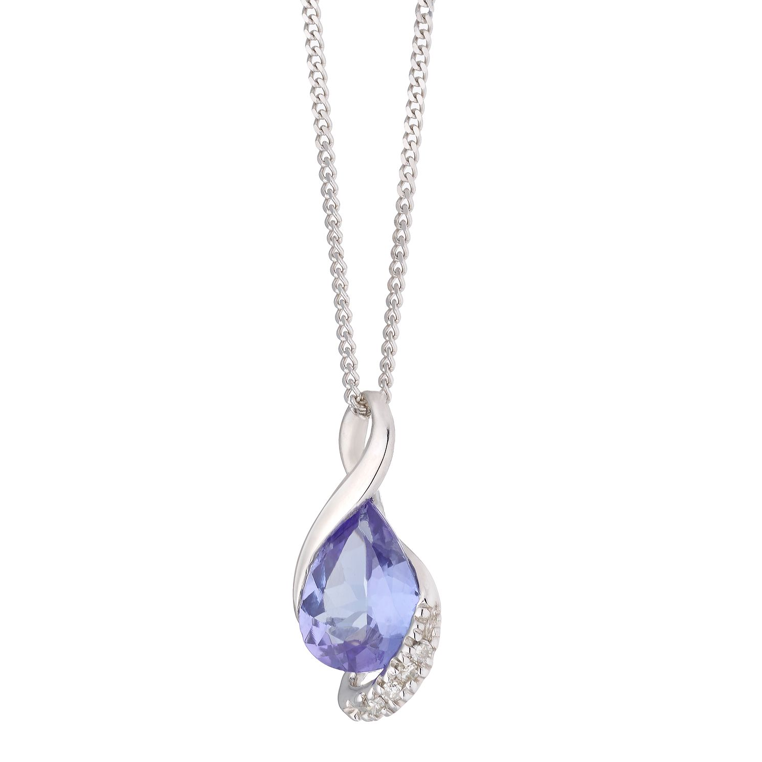 9ct White Gold Pear Tanzanite & Diamond Pendant - Product number 1170996