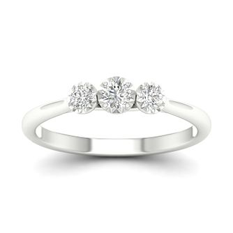 9ct White Gold 1/4ct Diamond 3 Stone Ring - Product number 1171275