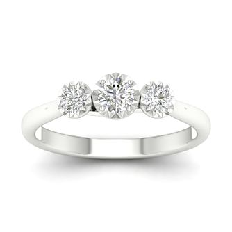 9ct White Gold 1/2ct Diamond 3 Stone Ring - Product number 1171453