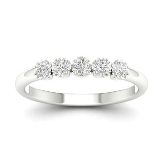 9ct White Gold 1/4ct Diamond 5 Stone Ring - Product number 1171615