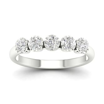 9ct White Gold 1/2ct Diamond 5 Stone Ring - Product number 1171747