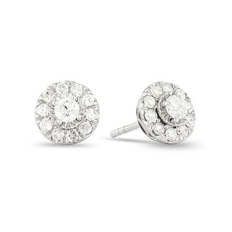 9ct White Gold 0.33ct Total Diamond Halo Stud Earrings - Product number 1171887