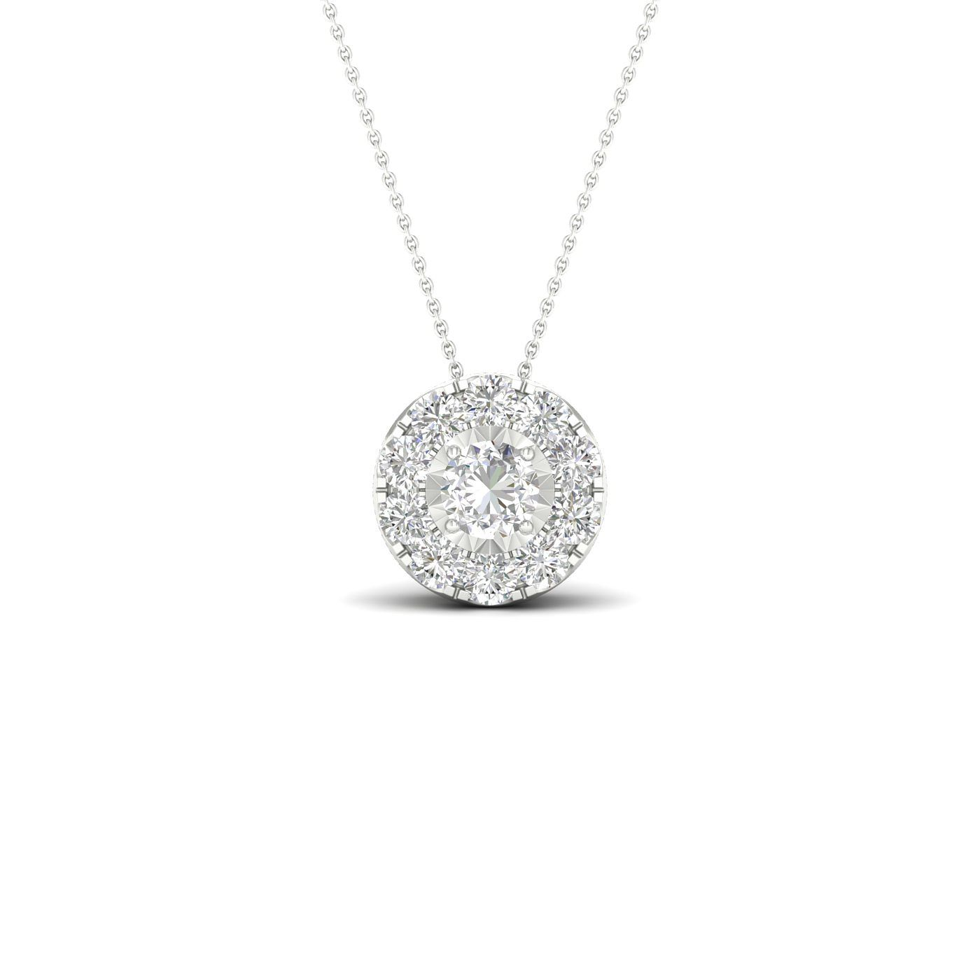 9ct White Gold 0.25ct Total Diamond Halo Pendant - Product number 1171968