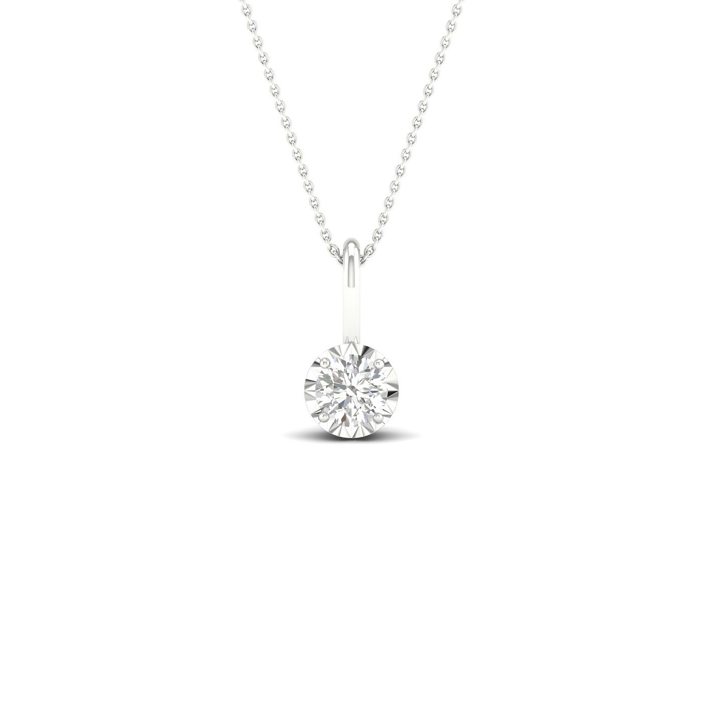 9ct White Gold 1/10ct Diamond Solitaire Pendant - Product number 1171984