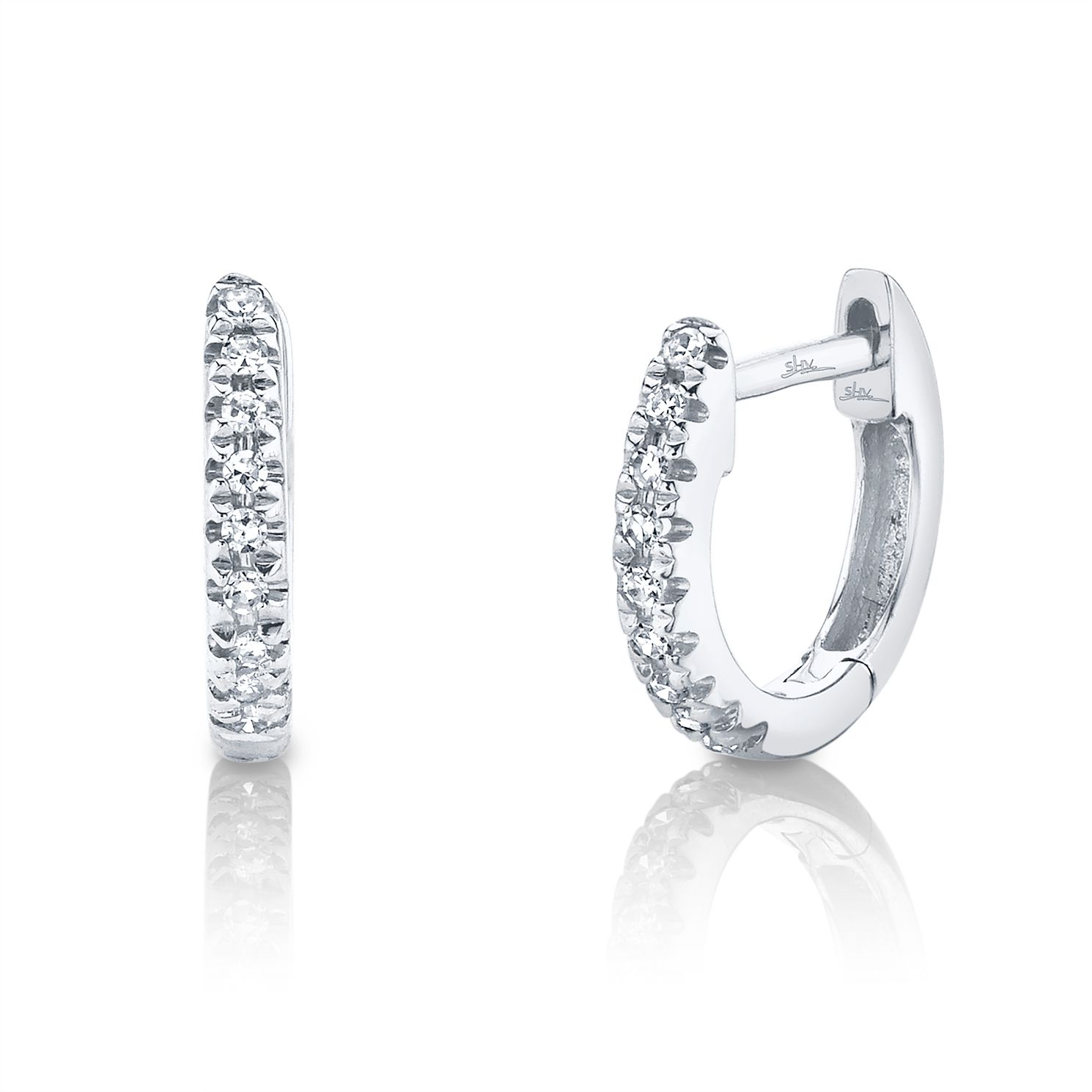 Shy Creation 14ct White Gold Diamond Huggie Earrings - Product number 1176943