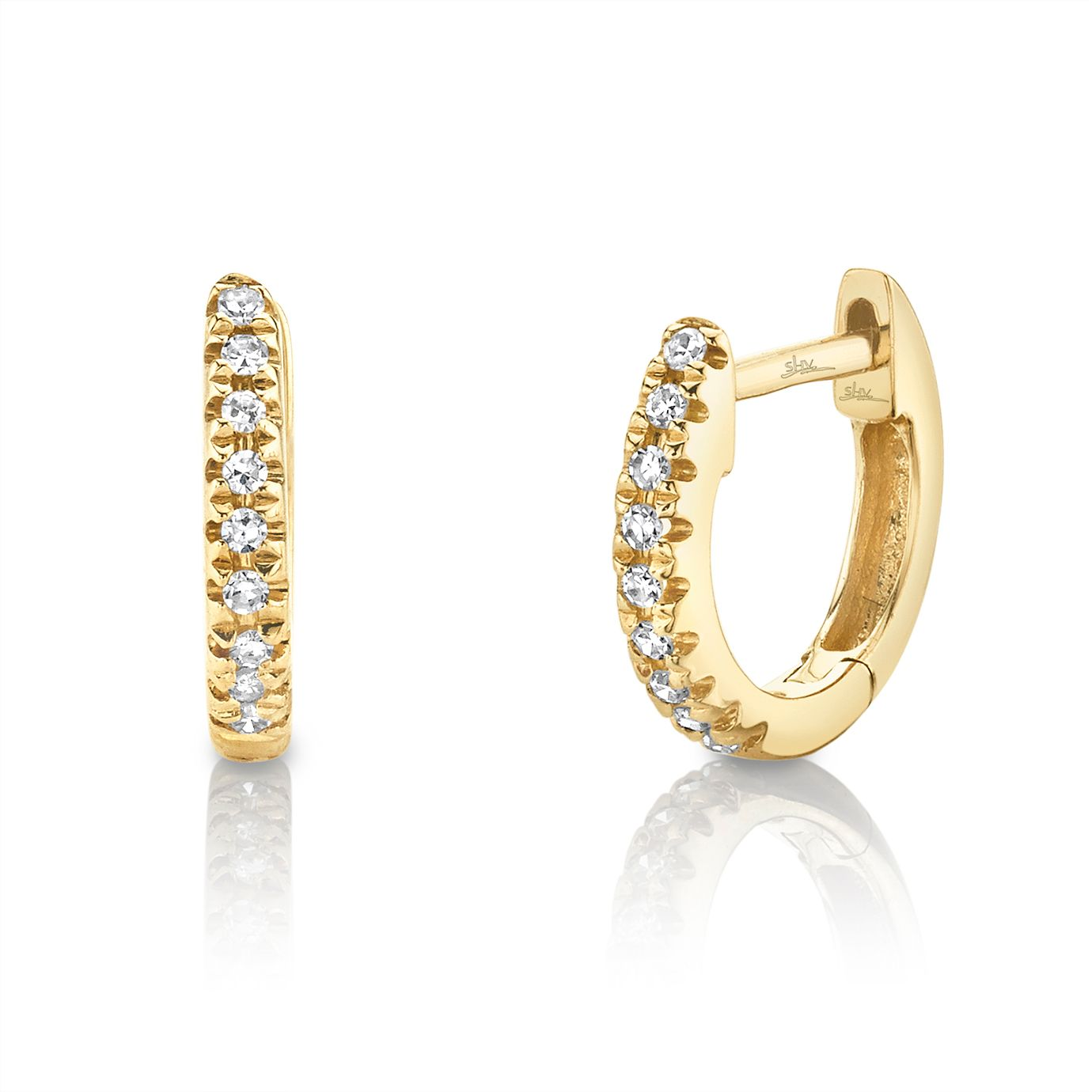 Shy Creation Kate 14ct Gold Diamond Huggie Earrings - Product number 1176978