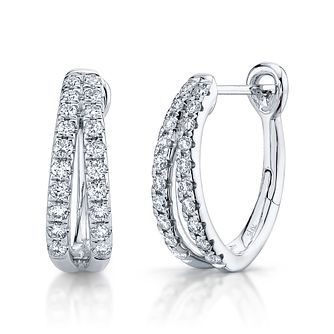 Shy Creation 14ct White Gold 0.36ct Diamond Hoop Earrings - Product number 1177311