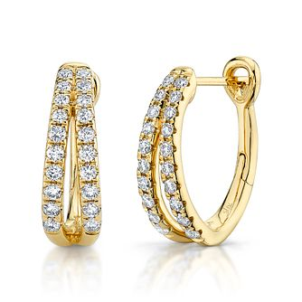 Shy Creation Eternal 14ct Gold 0.36ct Diamond Hoop Earrings - Product number 1177338