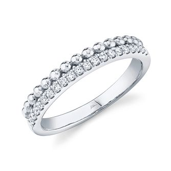 Shy Creation Kate 14ct White Gold 0.13ct Diamond Bead Ring - Product number 1177346