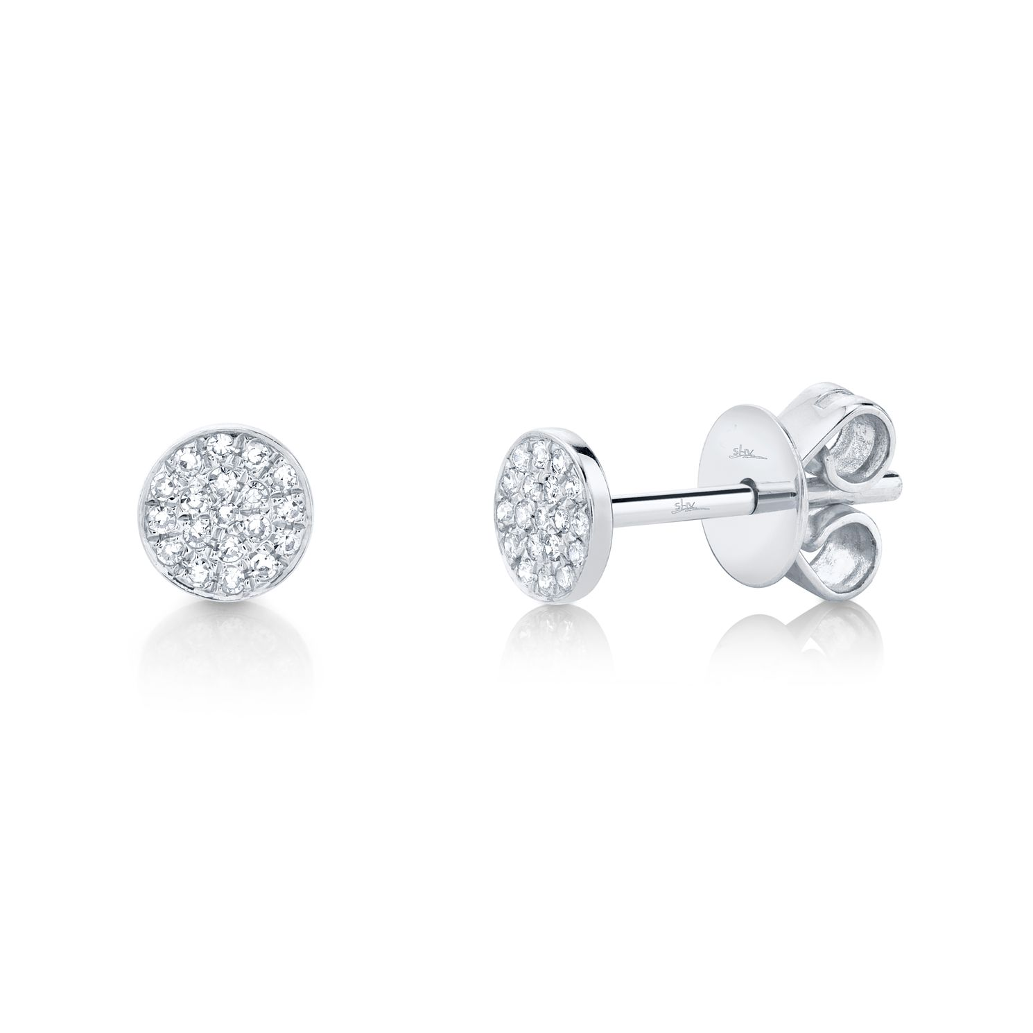Shy Creation Kate 14ct White Gold Diamond Pave Stud Earrings - Product number 1177729