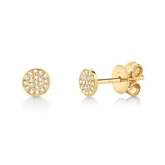 Shy Creation Kate 14ct Gold Diamond Pave Stud Earrings - Product number 1177737