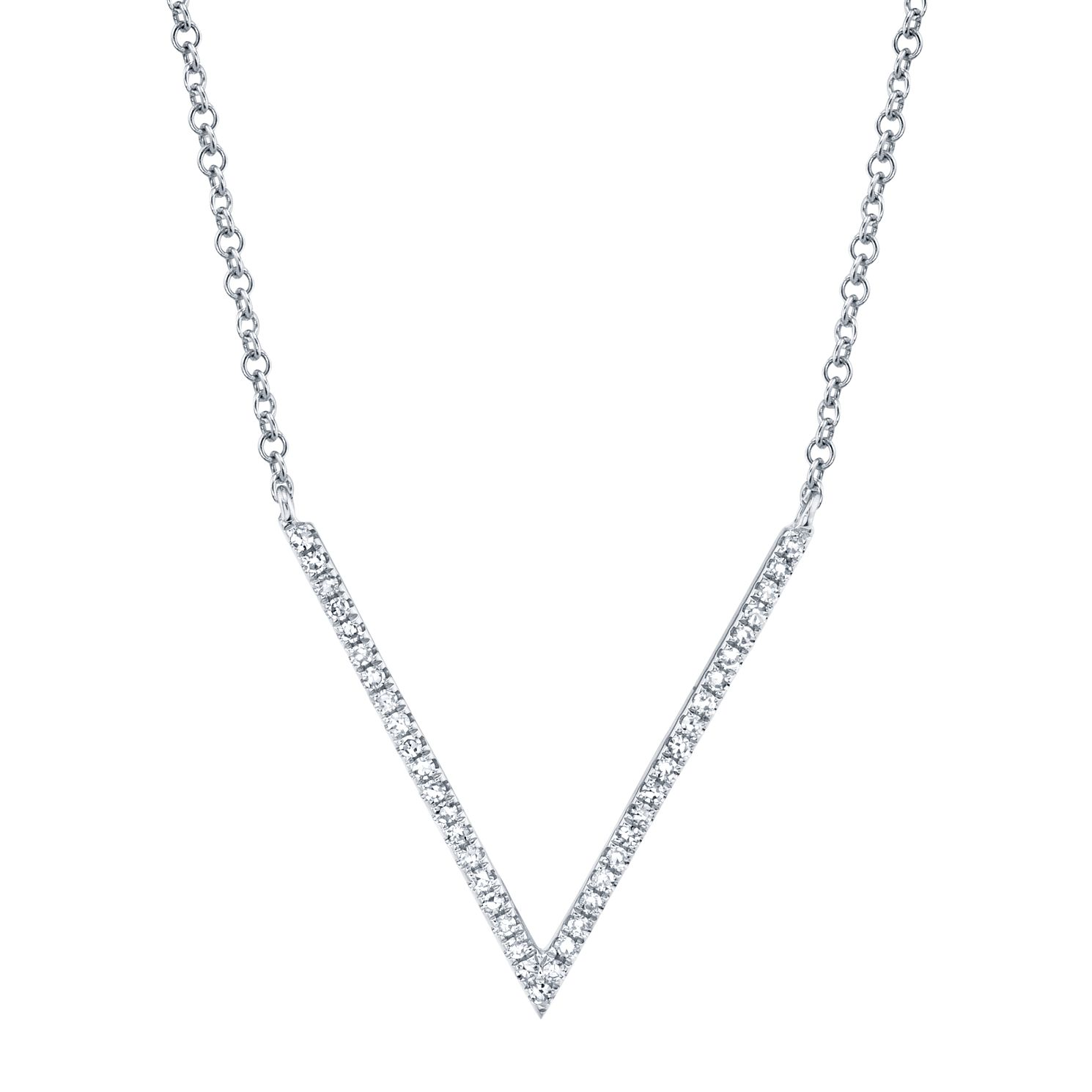 Shy Creation Kate 14ct White Gold 1/10ct Diamond V Necklace - Product number 1177788