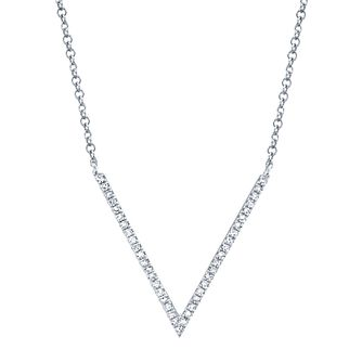 Shy Creation Kate 14ct White Gold 0.10ct Diamond V Necklace - Product number 1177788