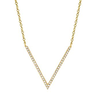 Shy Creation Kate 14ct Yellow Gold 0.10ct Diamond V Necklace - Product number 1177796