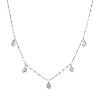Shy Creation Kate 14ct White Gold Diamond Pear Necklace - Product number 1177974