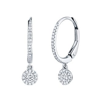 Shy Creation 14ct White Gold 0.22ct Diamond Hoop Earrings - Product number 1179594