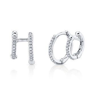 Shy Creation 14ct White Gold 0.10ct Diamond Hoop Earrings - Product number 1179608