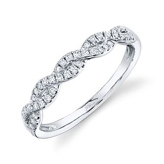 Shy Creation 14ct White Gold 0.10ct Diamond Twist Ring - Product number 1180460
